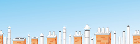 Chimneys on roofs of city houses banner. Chimney seamless border. Sky above roofs.Vector illustration