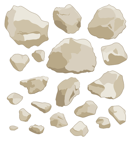 Large and small stones set on white background. Isolated vector illustration