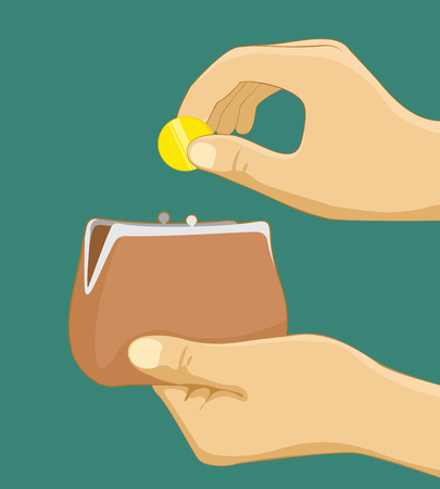 Hand taking coin from wallet. Hand putting coin in purse. Paying with cash concept. Flat vector illustration