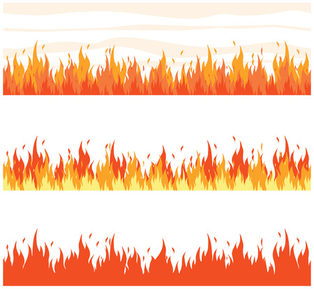Set of fire seamless border. Vector illustration Иллюстрация
