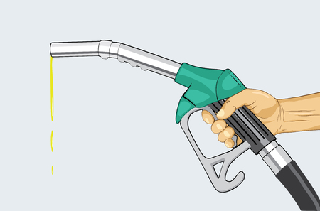 Hand holding fuel nozzle. Fuel pump in hand. Petrol station. Gasoline pump. Vector illustration Illustration