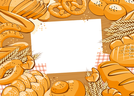 Bakery product on table background. Bread and other pastries top view background. Bakery shop. Vector illustration
