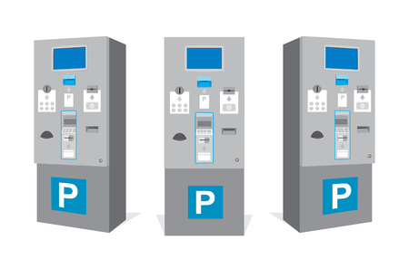 Parking ticket machine at garage isolated. Set of parking vending machine from different sides. Vector illustration Иллюстрация