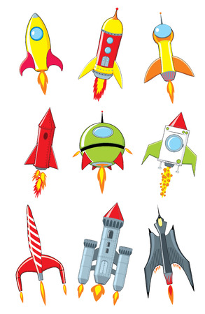 Rocket cartoon set on white background. Cartoon rockets collection. Isolated vector illustration Иллюстрация