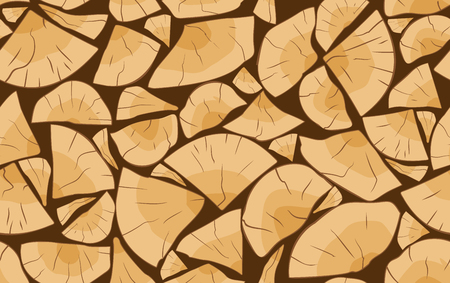 Pile of firewood logs seamless pattern. Vector illustration