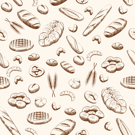 Bakery products seamless pattern background. Pattern with bread and other pastries draw. Vector illustration. Illustration