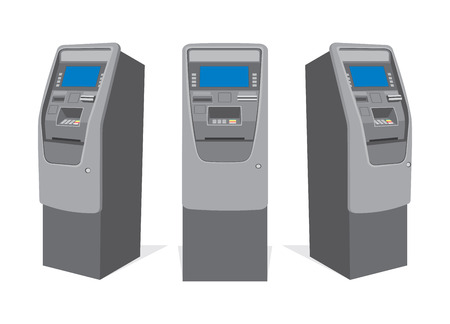 ATM bank cash machine on white background from different sides. Isolated vector illustration