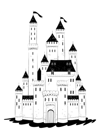 Medieval castle draw with walls and towers.