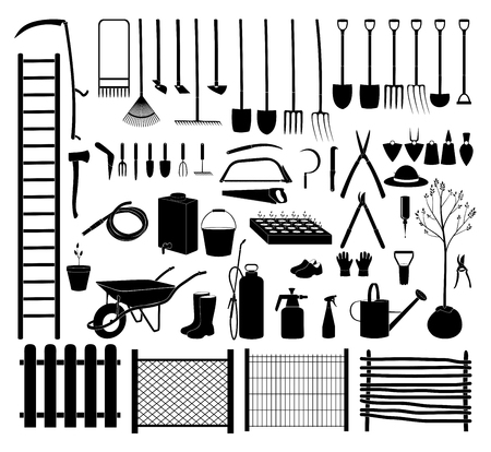Various agricultural icon tools set for garden. Illustration