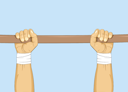 Hands on bar gymnastic pull up exercise illustration.