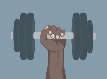 Hand lifted dumbbell weight illustration.
