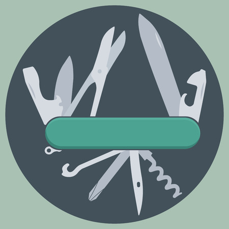penknife: Multifunction, multipurposa, pocket, swiss, army knife illustration.