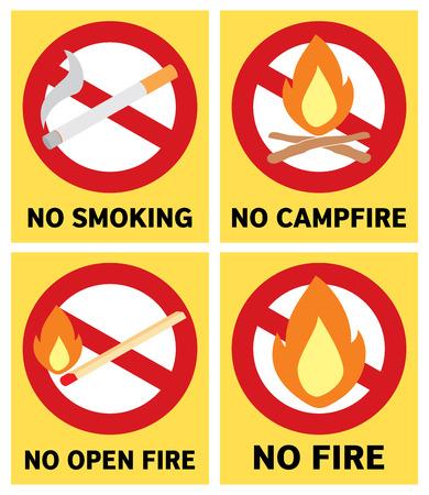 No fire signs set illustration.