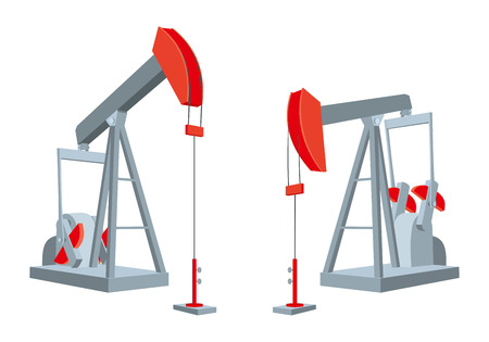 Oil pumps isolated on white background. Petroleum industry equipment. Vector illustration Иллюстрация