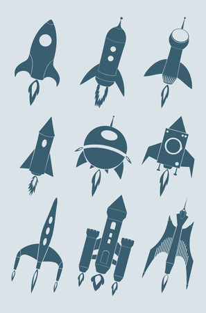 Rocket icon set. Cartoon rockets silhouette collection. Isolated vector illustration Иллюстрация