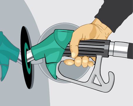 Hand refilling car with fuel nozzle on petrol gas station. Vector illustration