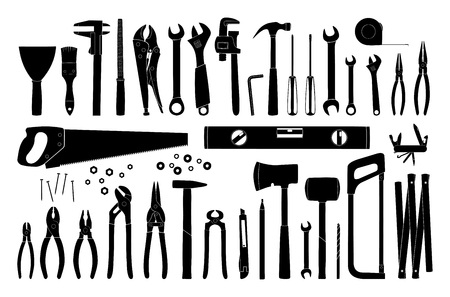 Working tools icon collection. Repair and construction tools collection. Do it yourself project. Vector illustration Иллюстрация