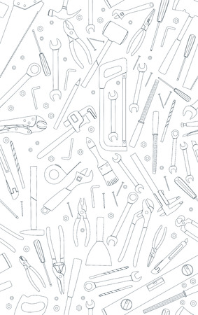 Working tools linear seamless pattern. Flat tools background. Flat vector illustration