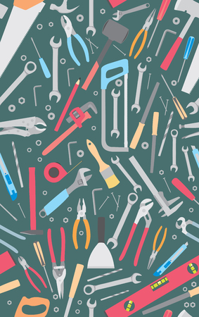 Working tools seamless pattern. Flat tools background. Flat vector illustration