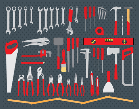 Working tools set on white background. Repair and construction tools collection. Do it yourself project. Isolated vector illustration
