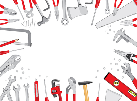 Working tools table frame composition top view background. Do it yourself project. Vector illustration