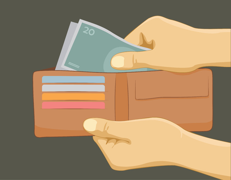 Hand putting money in wallet. Paying with cash concept. Flat vector illustration