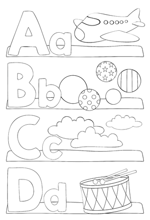 Alphabet education coloring page for kids. Learning alphabet letters. Letters a, b, c, d. Vector illustration