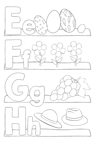 Alphabet education coloring page for kids. Learning alphabet letters. Letters e, f, g, h. Vector illustration