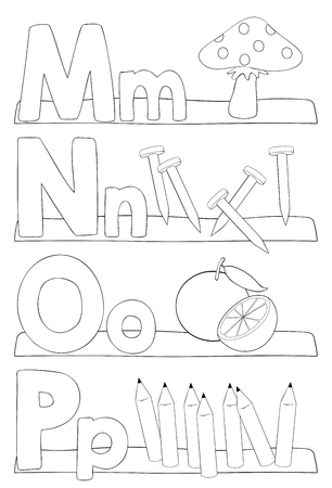 Alphabet education coloring page for kids. Learning alphabet letters. Letters m, n, o, p. Vector illustration