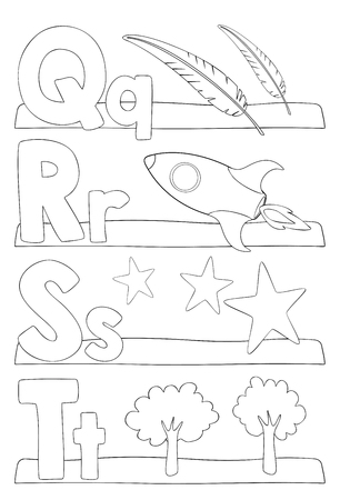 Alphabet education coloring page for kids. Learning alphabet letters. Letters q, r, s, t. Vector illustration