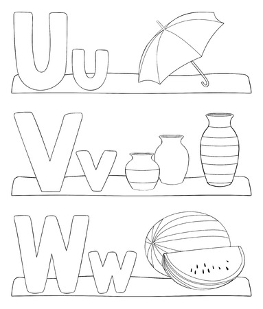 Alphabet education coloring page for kids. Learning alphabet letters. Letters u, v, w. Vector illustration