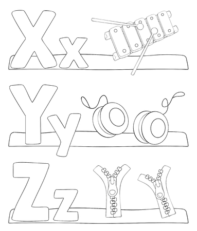 Alphabet education coloring page for kids. Learning alphabet letters. Letters x, y, z. Vector illustration