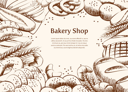 Bakery product on table draw background. Bread and other pastries top view background. Bakery shop. Vector illustration