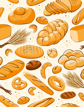 Bakery products seamless pattern background. Pattern with bread and other pastries. Vector illustration.
