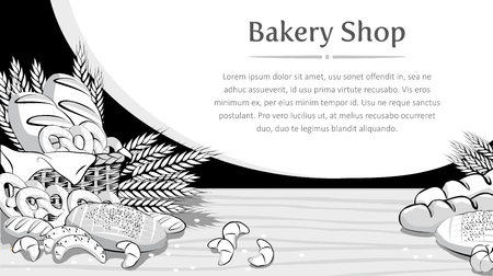 Bakery product basket with bread and other pastries background. Vector illustration