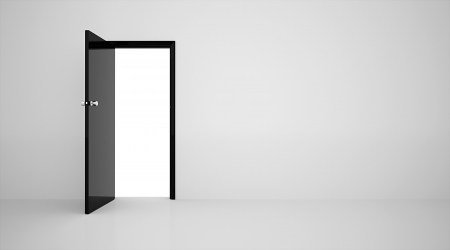 exit: Door in the wall black on white Stock Photo