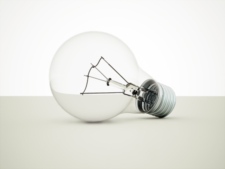 Transparent light bulb with shadows photo