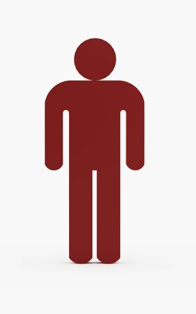 man symbol: Red man figure isolated on white background