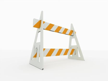 Road block barrier in perspective on white background