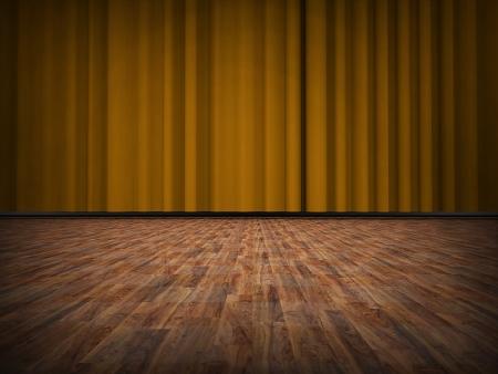 木製の床と黄色のカーテン