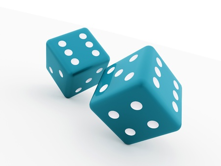 dices: Two blue dices isolated on white background Stock Photo