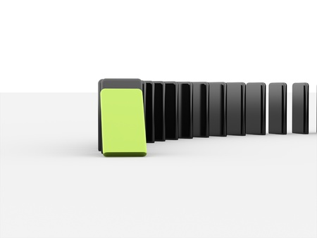 Domino effect rendered first is green isolated on white background