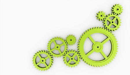 energy work: Few green gears isolated on white background