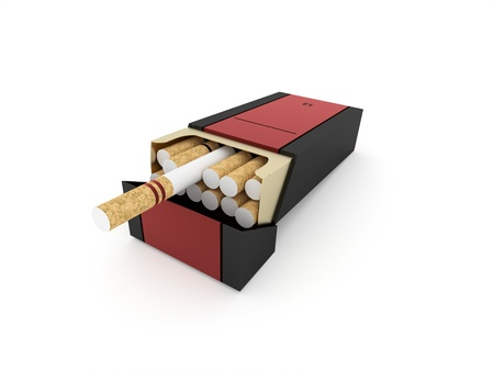 vices: Package of cigarettes isolated on white background