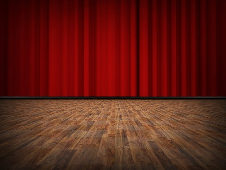 Red curtain with wooden floor photo