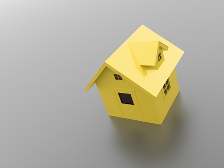 Yellow house icon on dark background photo
