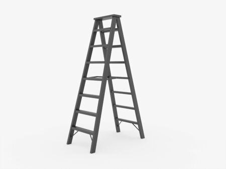 rung: Ladder on white background isolated