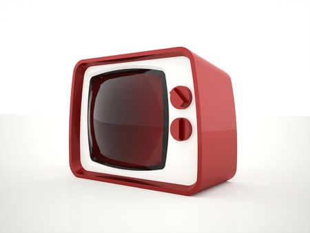 Old retro TV red isolated photo
