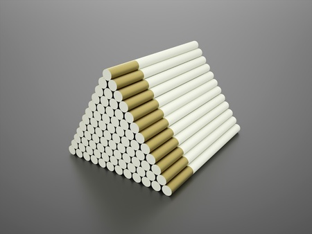 vices: Many long cigarettes in pyramid on dark background