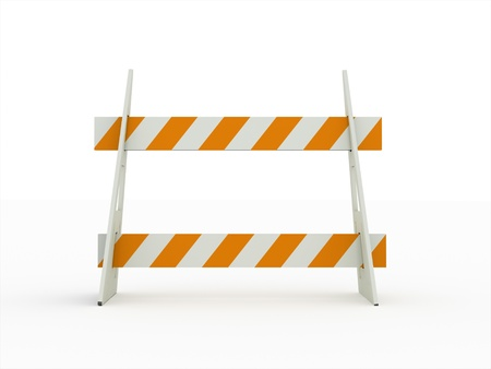Road block orange isolated on white background